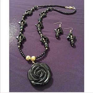 Necklace w/ Rose Pendant and Matching Earrings
